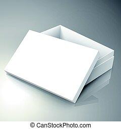 blank box design - blank white right tilt half open paper...