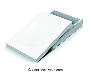 blank box design - flat left tilt blank half open box with...