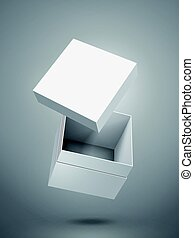 blank box design - floating blank white paper box and...