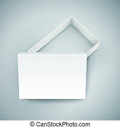 blank box design - left tilt blank white paper half open box...