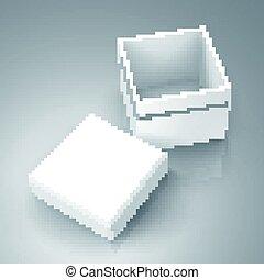 blank box design - open tilt blank white paper box with...