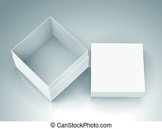 blank box design - open tilt blank white paper box with...