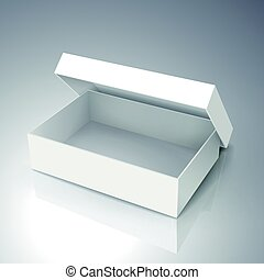 blank box design - right tilt blank white paper half open...