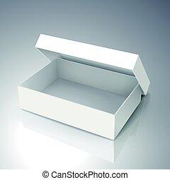 blank box design - right tilt blank white paper half open...