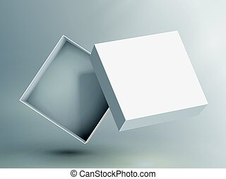 blank box design - slanting blank white flat paper open box...
