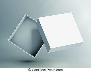 blank box design - slanting blank white flat paper open box...