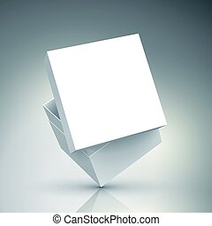 blank box design - slanting blank white paper box with...