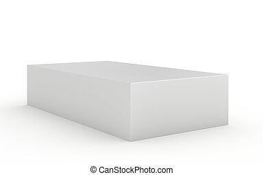 Blank box on white background. 3d render