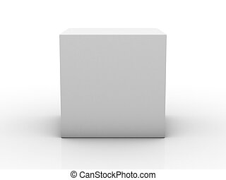 Blank box on white background with reflection. 3D