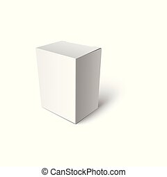 Blank box or package 3d realistic vector illustration mockup for branding isolated.