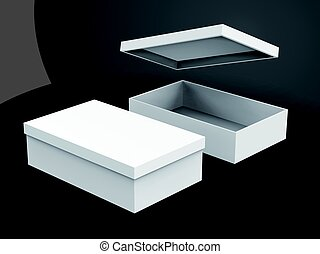 blank boxes design - two right tilt white blank boxes, one...