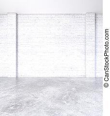 Blank brick wall in interior