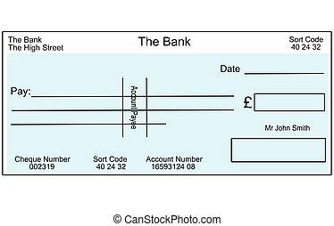 Blank British cheque. - An illustration of a blank British...