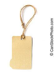 Blank brown cardboard price tag or label