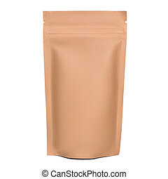 Blank brown kraft paper bag with zipper isolated on white ...