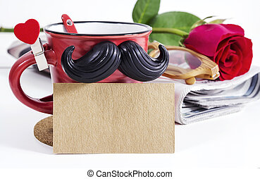 Blank brown paper and cup with mustache for fathers day concept