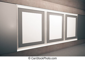 Blank brown picture frames on the wall in empty hall, mock up, 3D Render