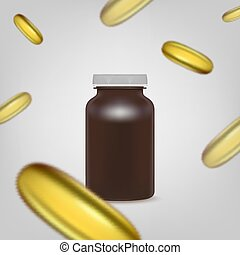 Blank brown pills container without label with falling pills. Vector illustration