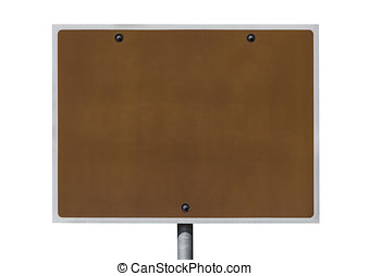 Blank Brown Road Sign Isolated with Clipping Path.