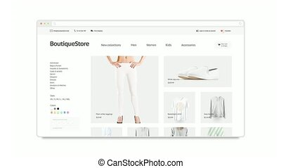 Blank browser window opening mockup with fashion website,...