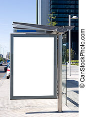 Blank bus stop billboard