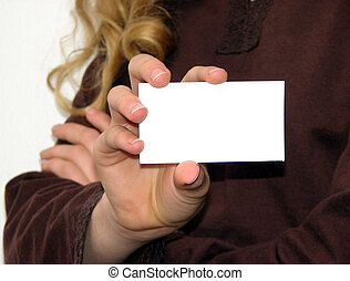 blank business card - a young woman holding a blank busness...