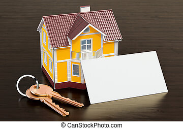 Blank business card for broker, realtor or real estate agent on the wooden desk background. 3D rendering