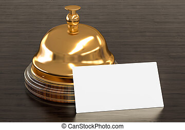 Blank business card for hotels on the wooden desk background. 3D rendering