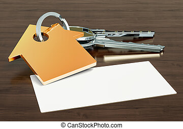 Blank business card for real estate agent, broker or realtor on the wooden desk background. 3D rendering