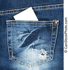 Blank business card in blue jeans pocket