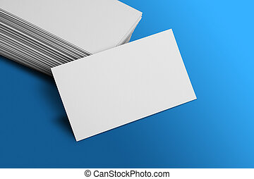 Blank Business Card Mockup on Blue Background