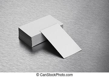 Blank Business Card Mockup on Brushed Steel Background