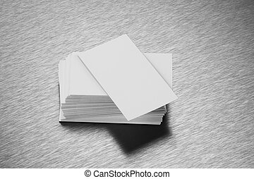Blank Business Card Mockup on Brushed Steel Stock Photo