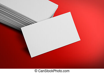 Blank Business Card Mockup on Red Background