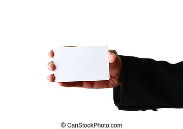 blank business card on white background.