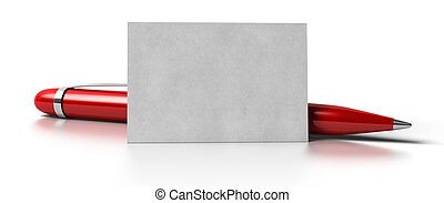 blank business card over white background with a red ball point pen