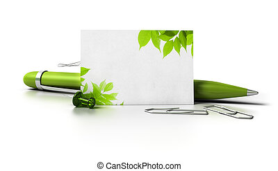 blank business card with leaves at the corner, ballpoint pen...