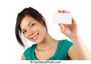 blank business card woman