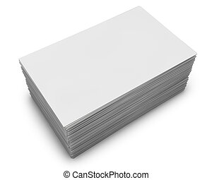 Blank business cards stack isolated on white background.