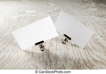 Two blank business cards