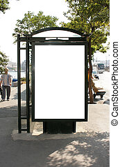 Blank busstop billboard with clipping path