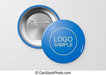 Blank button badge. - Blank button badge, front and back...