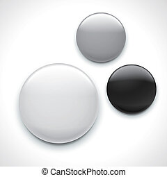 blank button badge template isolated over white background