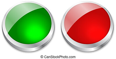 blank button on green and red with metallic silver