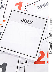 Blank Calendar, July, close up for background
