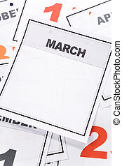 March - Blank Calendar, March, close up for background