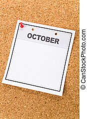October - Blank Calendar, October, close up for background