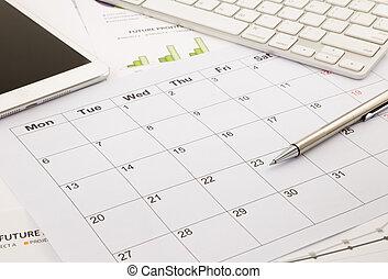 blank calendar on office table