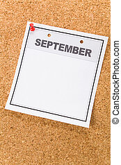 September - Blank Calendar, September, close up for...