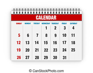Blank calendar - Red calendar with days of month